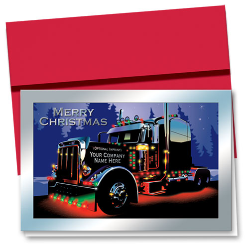 Premium Foil Trucking Holiday Cards - Midnight Chrome