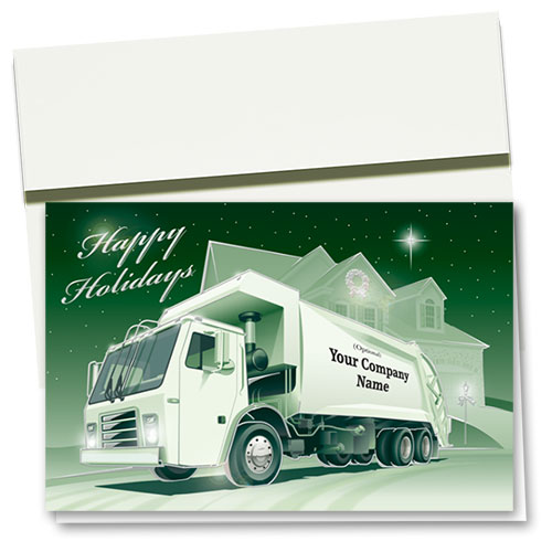 Premium Foil Trucking Holiday Cards - Hometown Refuse