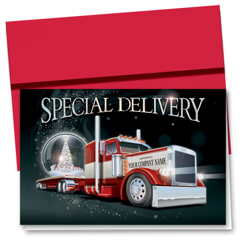 Premium Foil Trucking Holiday Cards - Glittering Globe