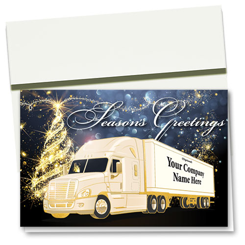 Premium Foil Trucking Holiday Cards - Glowing Lights