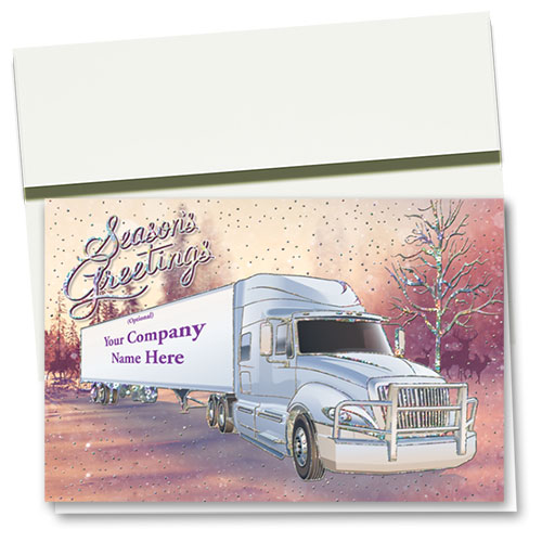 Premium Foil Trucking Christmas Cards - Forest Friends