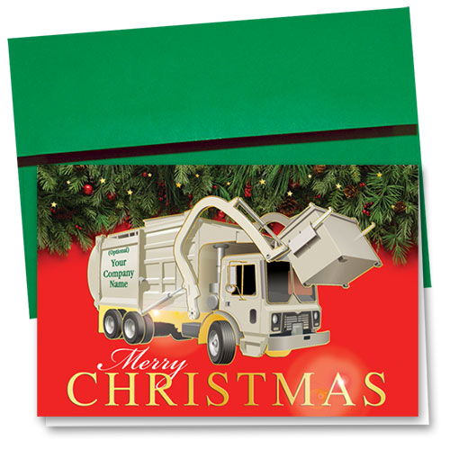 Premium Foil Trucking Christmas Cards - Christmas Refuse