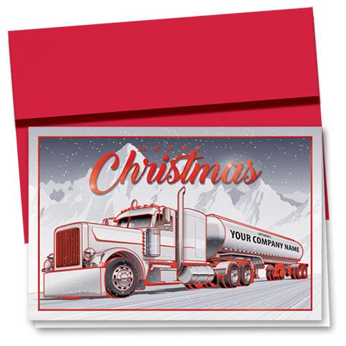 Premium Foil Trucking Christmas Cards - Christmas Tanker
