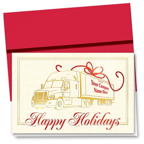 Premium Foil Trucking Christmas Cards - Crimson Ribbon