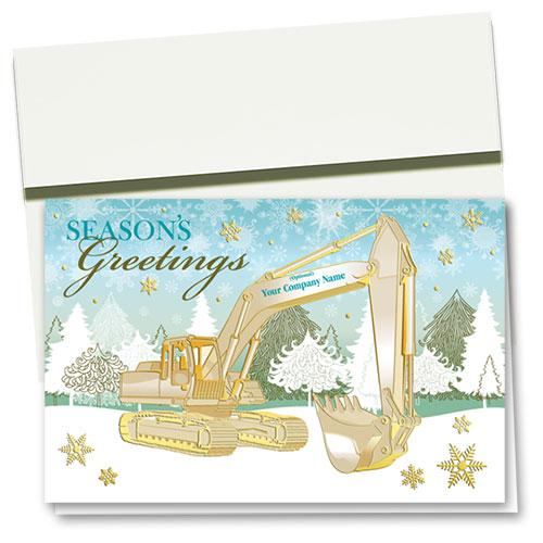 Premium Foil Construction Christmas Cards - Golden Excavator