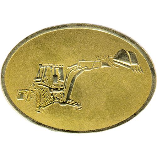 Gold Christmas Card Foil Seals - Backhoe