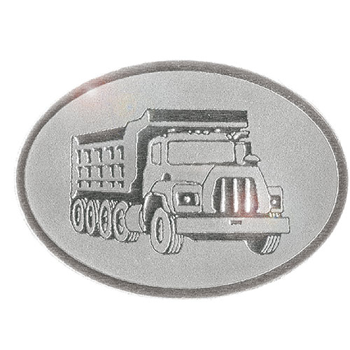 Silver Christmas Card Foil Seals - Dump Truck