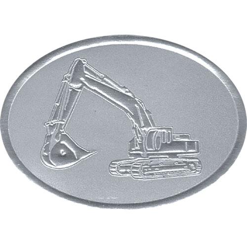 Silver Christmas Card Foil Seals - Excavator