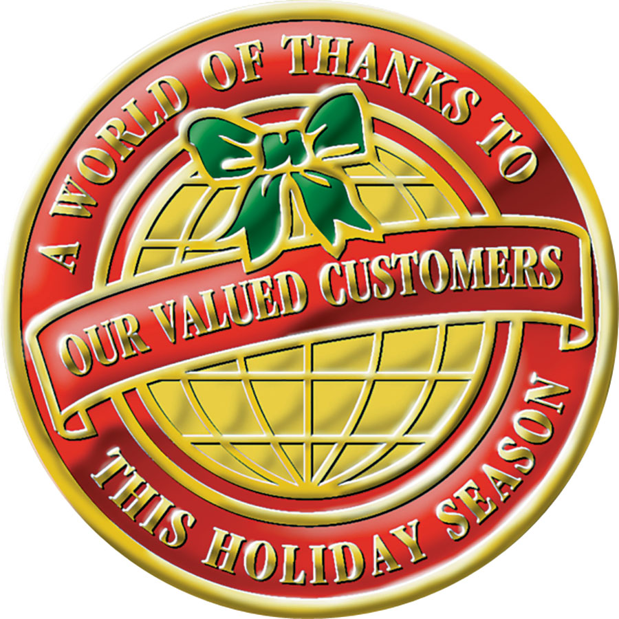 Christmas Card Foil Seals - A World of Thanks