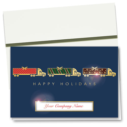 Premium Trucking Christmas Foil Cards - Wrapped Trio