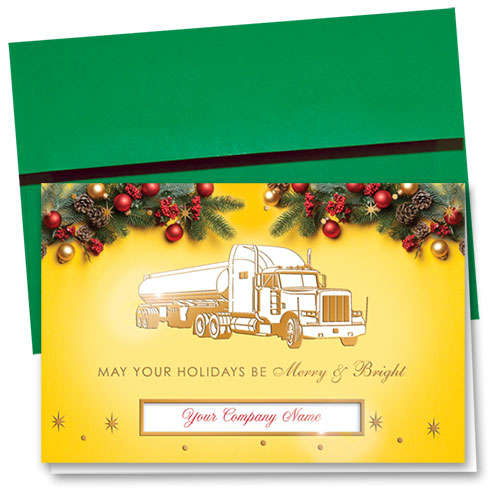 Premium Foil Trucking Christmas Cards - Merry Tanker