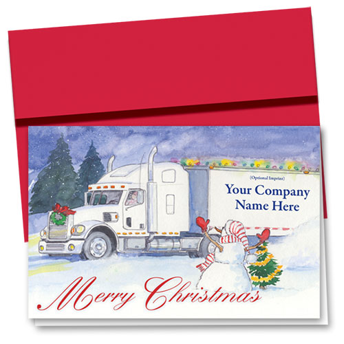 Trucking Christmas Greeting Cards - Snowman Greeting