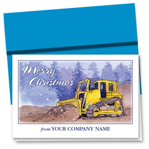 Construction Christmas Cards Winter Day Dozer