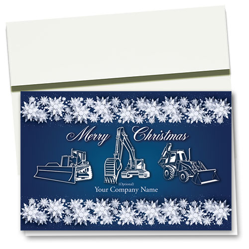 Construction Christmas Cards - White Snowflake