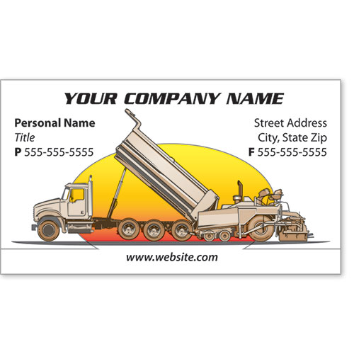 Full-Color Construction Business Cards - Paving 1