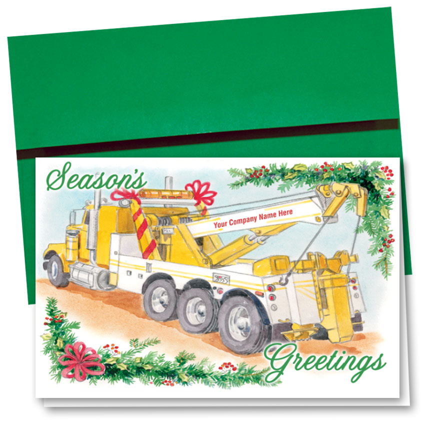 Tannenbaum Transport.Double Personalized Full Color Automotive Holiday Cards Tannenbaum Towing