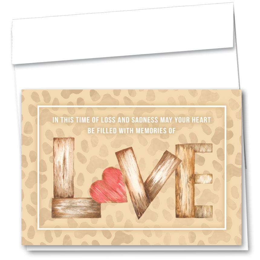 Pet Sympathy Cards - Wooden Heart