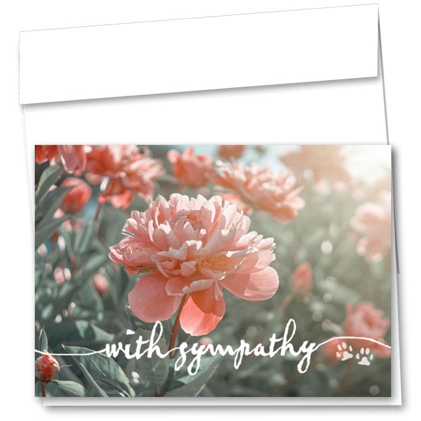 Pet Sympathy Cards - Peonies Garden