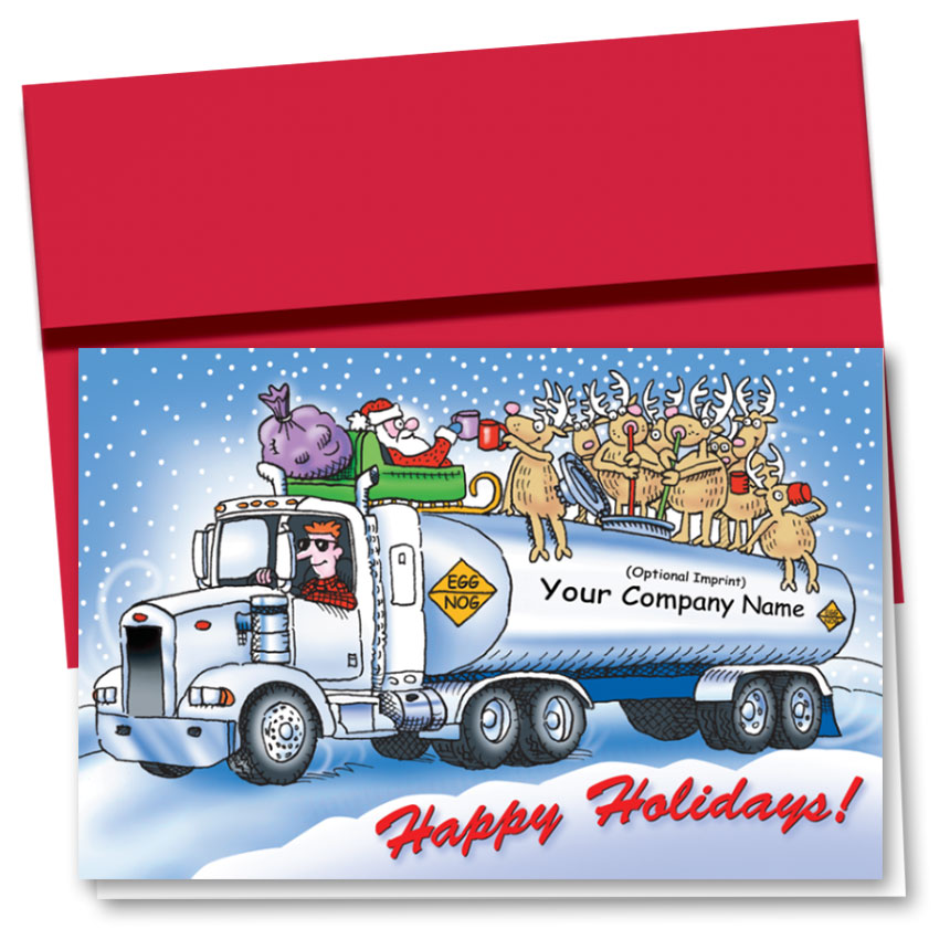 Trucking Christmas Cards - Egg Nog Tanker | Trucking Office Supplies
