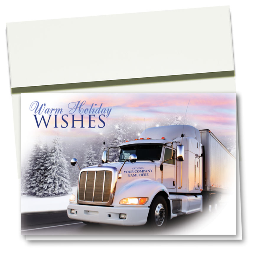 Trucking Christmas Cards - Sunset Wishes | Trucking Office Supplies