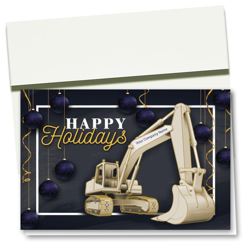 Construction Christmas Cards - Framed Excavator