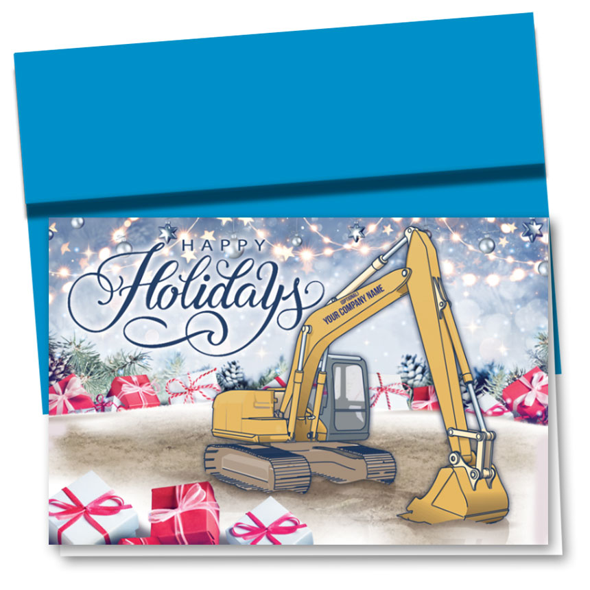 Construction Christmas Cards - Excavator Presents