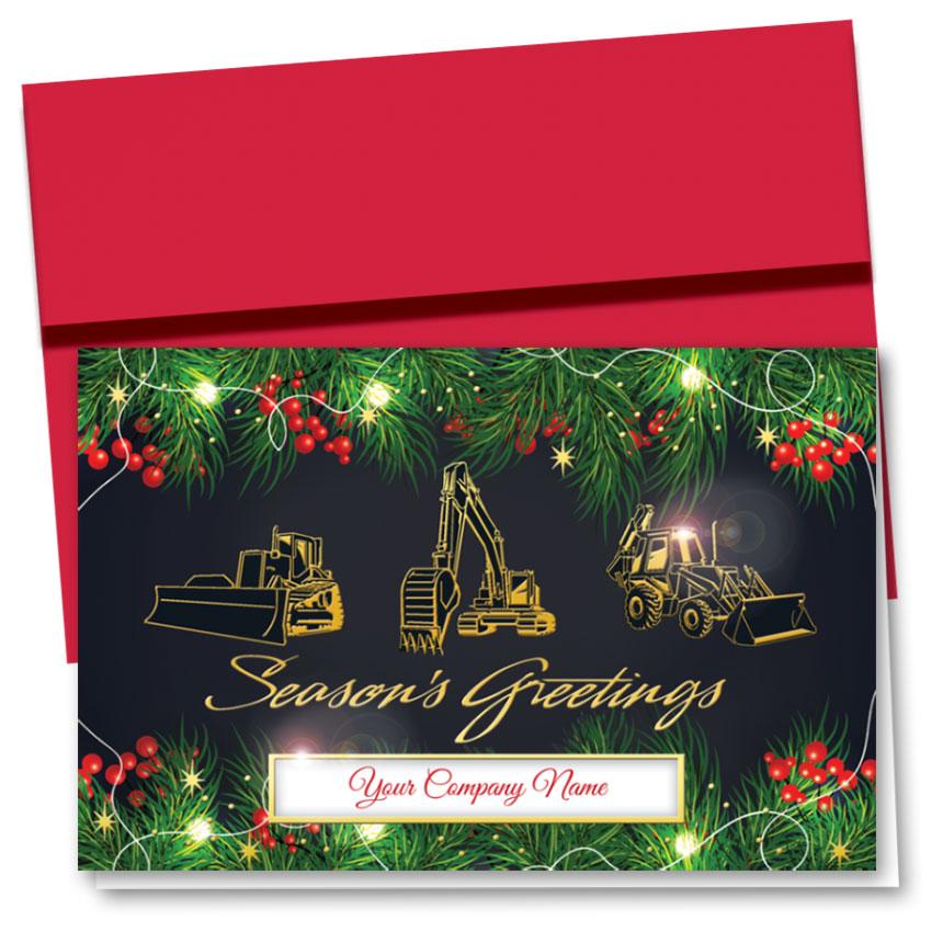 Premium Foil Construction Christmas Cards Greeting Triad
