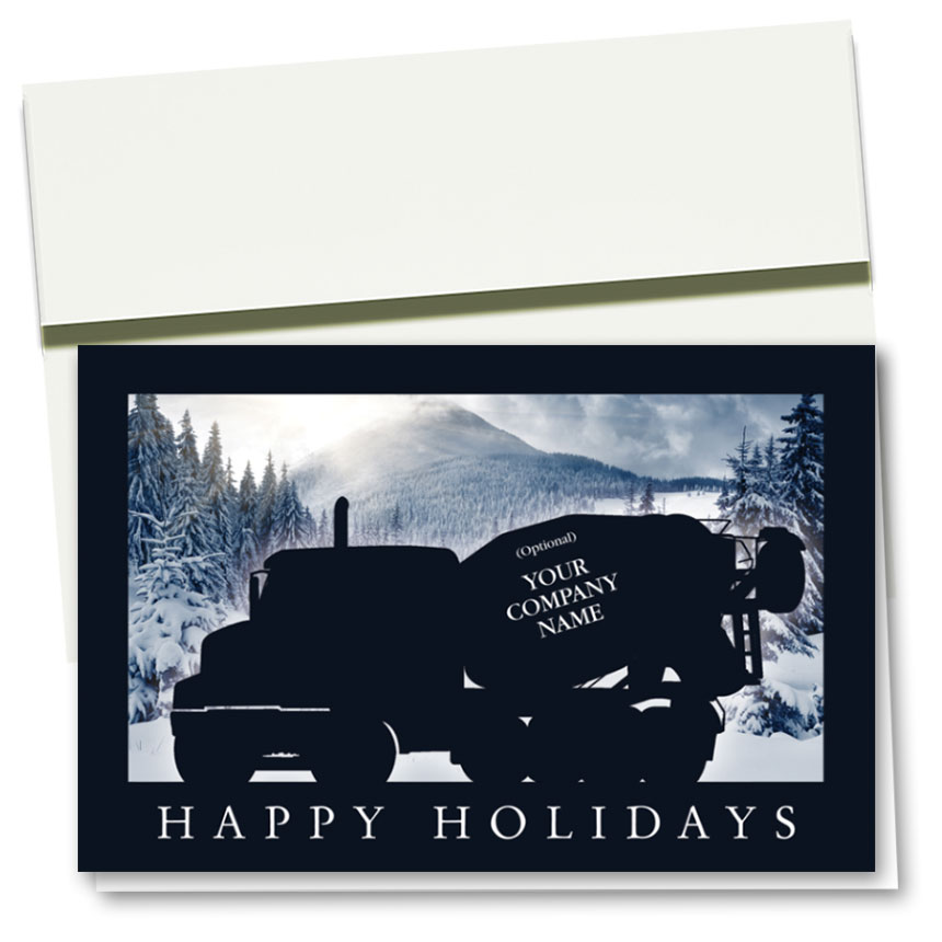 Christmas Jeep Silhouette.Construction Christmas Cards Navy Silhouette