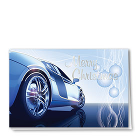 Personalized Premium Foil Automotive Holiday Cards - Blue Christmas