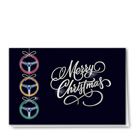 Personalized Premium Foil Automotive Holiday Cards - Steering Ornaments
