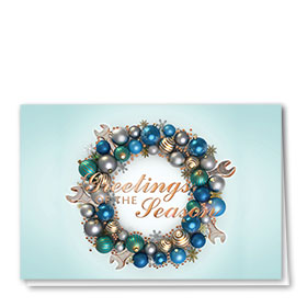 Personalized Premium Foil Automotive Holiday Cards - Embellished Wreath