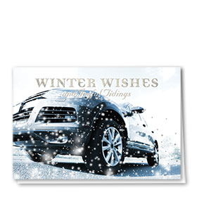 Personalized Premium Foil Automotive Holiday Cards - Winter Flurry