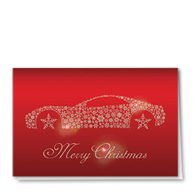 Personalized Premium Foil Automotive Holiday Cards - Snowflake Illusion