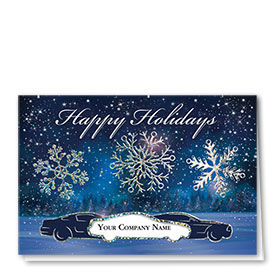 Personalized Premium Foil Automotive Holiday Cards - Shimmering Snowflakes