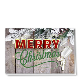 Personalized Premium Foil Holiday Card - Pine Plank