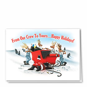 Personalized Deluxe Full-Color Automotive Holiday Cards - Sleigh Repair