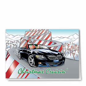 Personalized Deluxe Full-Color Automotive Holiday Cards - Candy Cane Trail
