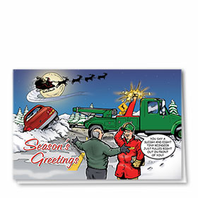Personalized Deluxe Full-Color Automotive Holiday Cards - Christmas Eve Crash