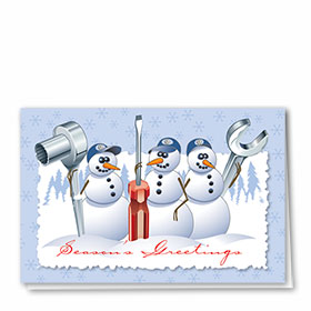 Personalized Deluxe Full-Color Automotive Holiday Cards - Tool Team