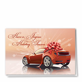 Personalized Deluxe Full-Color Automotive Holiday Cards - Red Ribbon