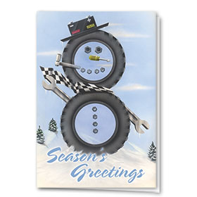 Personalized Deluxe Full-Color Automotive Holiday Cards - Mechanical Snowman