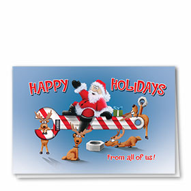 Personalized Deluxe Full-Color Automotive Holiday Cards - Santa's Wrench