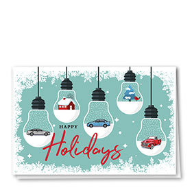 Personalized Deluxe Full Color Holiday Card - Snowfall Bulbs