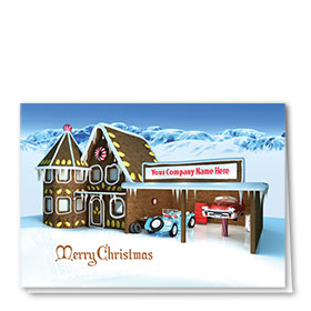 Double Personalized Full Color Holiday Card-Gingerbread Shop