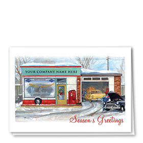 Double Personalized Full Color Holiday Card-Nostalgic Repair Shop