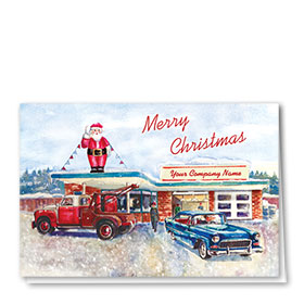 Double Personalized Full Color Holiday Card-Old-Time Towing