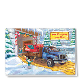 Double Personalized Full Color Holiday Card-Santa's Special Shop