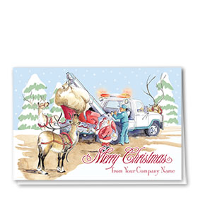 Double Personalized Full Color Holiday Card-Reindeer Wrecker
