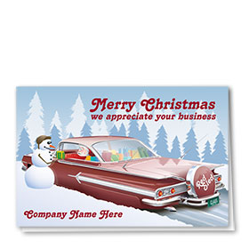 Double Personalized Full Color Holiday Card-Red Sled