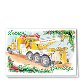 Double Personalized Full Color Holiday Card-Tannenbaum Towing